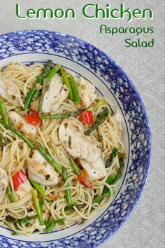 Lemon Chicken Asparagus Spaghetti - A warm pasta dinner salad with bright flavors that's quick cooking nutritious & delicious. An ideal weekday family meal.