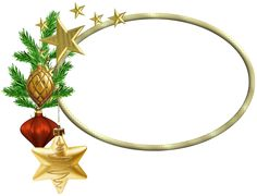 Oval Christmas PNG Photo Frame with Stars