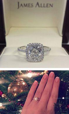 14K White Gold Pave Set Engagement Ring #WhiteGoldJewellery