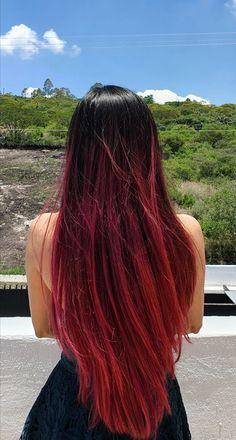 Black Hair Ombre, Ombre Hair Color, Hair Color For Black Hair, Pink Hair, Long Straight Black Hair, Straight Hairstyles, Cool Hairstyles, Balayage Straight, Cabello Hair