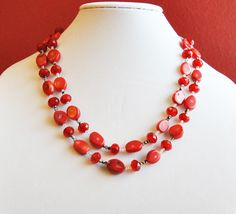 Red chunky necklace made of coral, firepolished red velvet crystals, and silver chain
