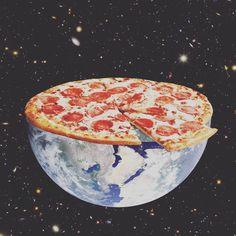 Oto ex de colagm (Planet Pizza. Photomontage, Pizza Art, Pizza Planet, Psy Art, Go For It, Arte Sketchbook, Love Pizza, Arte Pop, Jolie Photo