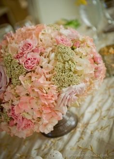 Pink, Peach and Lavender Floral Centerpiece of Yarrow, Hydrangea, and Quick Sand and Spray Roses by The French Bouquet - Zinke Design - The Mayo Hotel - James Walton Photo