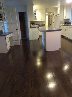 We recently resanded red oak hardwood floors and refinished them with 3 parts Jacobean stain and 1 part ebony.