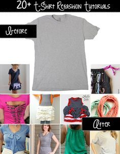 t-shirt refashion tutorials! crafty shirt refashion, diy clothes, d Diy Clothes Refashion, Shirt Refashion, Diy Clothing, Sewing Clothes, Upcycling Clothing, Outfits For Teens, Cute Outfits, Diy Kleidung, Diy Clothes Videos