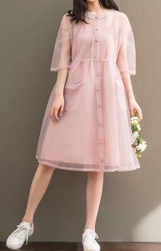 Women Loose Over Plus Size Pink 2 Piece Dress Pocket Yarn Chiffon Tunic Dress - Outfits I love - Wedding Summer Trendy Dresses, Cute Dresses, Beautiful Dresses, Casual Dresses, Casual Outfits, Cute Outfits, Pink Dress Casual, Pink Dresses, Casual Clothes