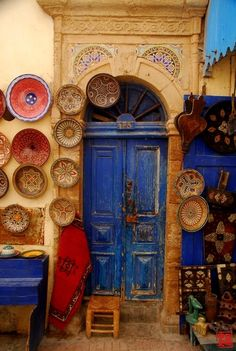 A Door, Essaouira, Morocco Les Doors, Windows And Doors, When One Door Closes, Unique Doors, Moroccan Style, Moroccan Blue, Closed Doors, Moorish, Doorway