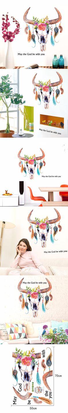 Creative Tauren Feature Wall Stickers Home Decor DIY Ox Head Art Mural Wall Poster Livingroom Decor Art Decal Crafts Ornaments $3.87