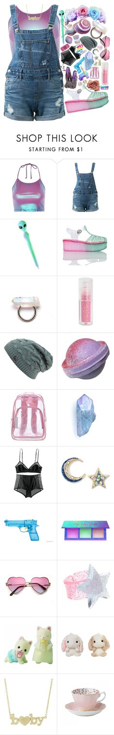 """""""Untitled #14"""" by ana-baby ❤ liked on Polyvore featuring Motel, Guild Prime, Hot Topic, Wanted Shoes, H&M, Betsey Johnson, Lime Crime, ASOS, Flair and Jennifer Meyer Jewelry"""