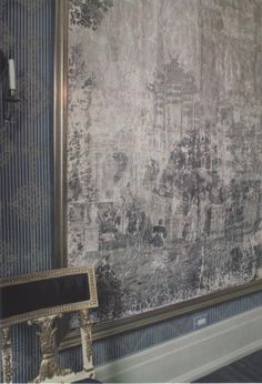 framed distressed chinoisserie wallpaper