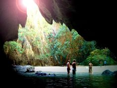 West of Koh Mook, Thailand, is the gorgeous Morakot Cave. Also known as the Emerald Cave, visitors must swim 230 feet in complete darkness to reach the cave's private beach, which is walled in on all sides.