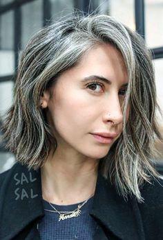Lob hair haircut - blunt - beautiful gray hair streaks