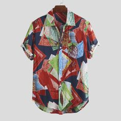 ChArmkpR Mens Summer Hit Color Graffiti Printed Turn Down Collar Short Sleeve Loose Casual Shirts Best Online - NewChic Casual Shirts For Men, Men Casual, Ripped Jeans Men, Graffiti Prints, Printed Shorts, Chic Outfits, Latest Fashion Trends, Hula, Menswear