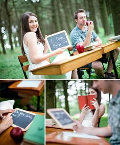 Back to School is also a great theme for an engagement photoshoot like this one found on http://greenweddingshoes.com