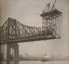 Queensboro Bridge (aka 59th st Bridge) under construction 1905. Queens, NY