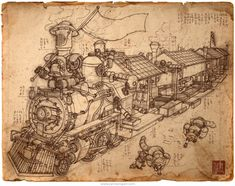 Raccoon Express is an award winning concept art piece by steampunk illustrator James Ng. It combines an industrial train with street food culture. Pencil Illustration, Graphic Illustration, Steampunk Robots, Arte Robot, Train Art, Medieval, Dieselpunk, Game Art, Art Reference