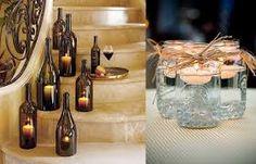 decoração de casamento com garrafas e potes de vidro - Pesquisa Google