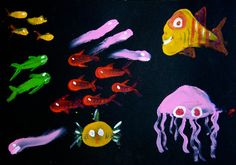 What lives in the darkest, deepest waters of the ocean? Let your child's imagination go vividly wild while creating brilliant fish using her fingerprints!