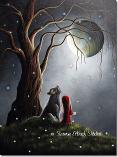 little RED RIDING HOOD Art Print Erback gothic fantasy Bright Moon Howling Wolf fairy tale.