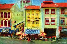 Shutters and shophouses in Singapore