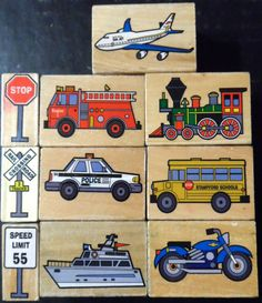 Rubber Stamps Lot 10 Ten Transportation by ShellysSweetFinds