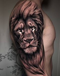Tattoo Inspiration o Lion Forearm Tattoos, Lion Head Tattoos, Bull Tattoos, Tattoos Arm Mann, Mens Lion Tattoo, Upper Arm Tattoos, Arm Tattoos For Guys, Leg Tattoos, Tattoo Women