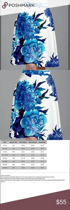 COMING SOON! Blue Floral A Line Skirt Totally gorgeous!!!! Perfect knee length skirt with pull on waist.  92% brushed polyester, 8% spandex.  24in long.  Imported.  More pics to come... Skirts