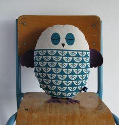 Hand Screen Printed Owl in Teal. $31.00, via Etsy.
