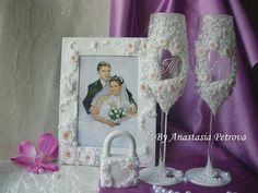 """Купить Свадебный набор """" Нежность"""" - свадьба, свадебные бокалы, свадебная рамка для фото, замочек"""
