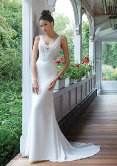 Lace Bodice Wedding Dresses Inspirational Style Crepe Fit and Flare Gown with Allover Lace Inexpensive Wedding Dresses, Wedding Dress Trends, Wedding Dresses Plus Size, Dream Wedding Dresses, Boho Wedding Dress, Boho Dress, Allure Bridals, Indian Wedding Gowns, Bridal Gowns