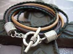Mens Leather Bracelet, Double Wrap, Black ,Urban Survival Gear USA, Mens Bracelet, Mens Jewelry