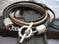Mens Leather Bracelet  Four Strand Double by UrbanSurvivalGearUSA, $23.99
