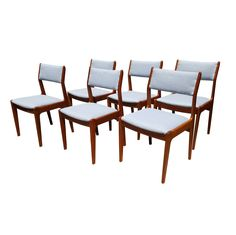A set of 6 Danish mid-century modern teak wood dining chairs