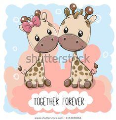 Cute Cartoon giraffes boy and girl. Valentines card with Cute Cartoon giraffes boy and girl royalty free illustration Cartoon Giraffe, Cute Giraffe, Girl Cartoon, Cute Cartoon, Disney Cartoon Characters, Disney Cartoons, Blue Butterfly Wallpaper, Doll Patterns Free, Baby Frame
