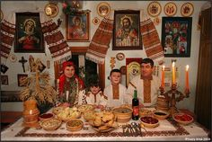 A Hutsul family in Ukraine attend Christmas Eve Dinner. In Ukrainian, Polish, and Rusyn cultures Christmas Eve is one of the most important nights of the year. Families gather together and consume a dinner consisting of twelve meals representing the twelve Apostles of Jesus. The meals are not allowed to consist of meat, except for fish. Typical dishes among both Ukrainians and Poles are meatless Pirogi/Pierogi, Kutia, Carp, Pickled Herring, Poppy-seed cakes, Cabbage based meals including Cabbage