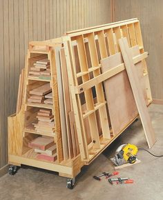 Wood Storage Roll-Around Lumber Cart & Cutting Station Lumber Storage Rack, Plywood Storage, Lumber Rack, Diy Garage Storage, Storage Cart, Tool Storage, Woodworking Shop Layout, Woodworking Projects Diy, Woodworking Jigs