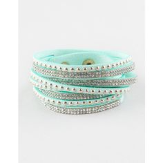 Full Tilt 4 Row Rhinestone/Stud Wrap Bracelet ($7.99) ❤ liked on Polyvore featuring jewelry, bracelets, mint, snap button jewelry, full tilt jewelry, studded jewelry, rhinestone jewelry and rhinestone bangles
