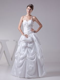 Halter Strap Embroidery and Pleated Taffeta Wedding Dress Brands:TOSCAFreeship:YESFabric:Taffeta/Stretch SatinFabric(main):WeddingTailoring Time (Standard):15-20 DaysTailoring Time (Rush Order):10-15 DaysSilhouette:A-LineNeckline:SweetheartShoulder Strap:HalterWaist:NaturalBack Detail:Lace-upHemline:Floor LengthEmbellishment:Appliques/BeadingFully…