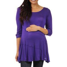 24/7 Comfort Apparel Women's Solid Maternity Tunic, Size: 2XL, Purple