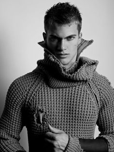 Sexy guy and a gorgeous sweater. I must have died and gone to gay heaven.