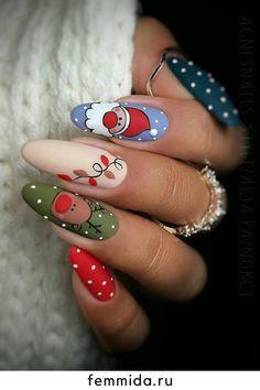 Xmas Nail Art, Christmas Gel Nails, Christmas Nail Art Designs, Fall Nail Designs, Cute Nail Designs, Holiday Nails, Acrylic Nail Designs, Christmas Design, Nail Designs For Christmas