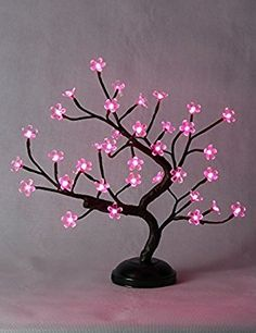 NEW Cherry Blossom Bonsai Light,Pink Light,Battery Powered for Home Decoration Nylon Flowers, Paper Flowers, Christmas Night Light, Tree Shapes, White Light, Pink Light, Tree Lighting, Festival Party, Flower Making