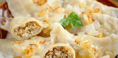 Pierogi z mięsem i kiszoną kapustą Pierogi, Feta, Mashed Potatoes, Tacos, Chicken, Ethnic Recipes, Shredded Potatoes, Cubs
