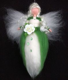 NEEDLE FELTED WOOL ROSE FAIRY DOLL FEE ANGEL FAERIES by Holichsmir