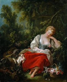 Dreaming Shepherdess: by Francois Boucher (Residenzgalerie - Salzburg) - Rococo Classic Paintings, European Paintings, French Rococo, French Art, Caravaggio, Rembrandt, Rococo Painting, Jean Antoine Watteau, Esteban Murillo