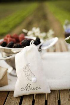 Peter rabbit favor bags... love the cottontail!