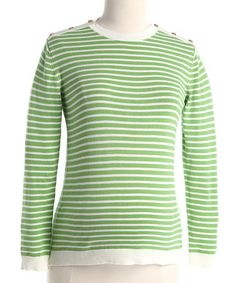 Lilo Green Stripe Maternity Crewneck Sweater - Women #zulily #zulilyfinds