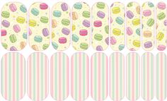 Macaron Love (mixed mani) Jamberry Nail Art Studio: Macarons are little bitefuls of joy in such fabulous flavors & colors! Credit: Patterns and/or cliparts by www.lagartixashop.com
