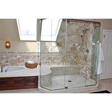 Sloped ceiling like ours! Bathroom Shower Bench Design, Pictures, Remodel, Decor and Ideas - page 3 Shower Seat, Shower Tub, Glass Shower, Dream Shower, Bath Tub, Huge Shower, Shower Door, Bath Room, Dream Bathrooms