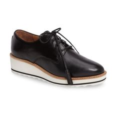 Women's Linea Paolo Marlo Platform Oxford (420 PEN) ❤ liked on Polyvore featuring shoes, oxfords, black leather, leather oxford shoes, wedge oxfords, black platform shoes, black shoes and leather shoes